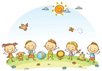 Fototapeta Happy cartoon kids outdoors on a green meadow