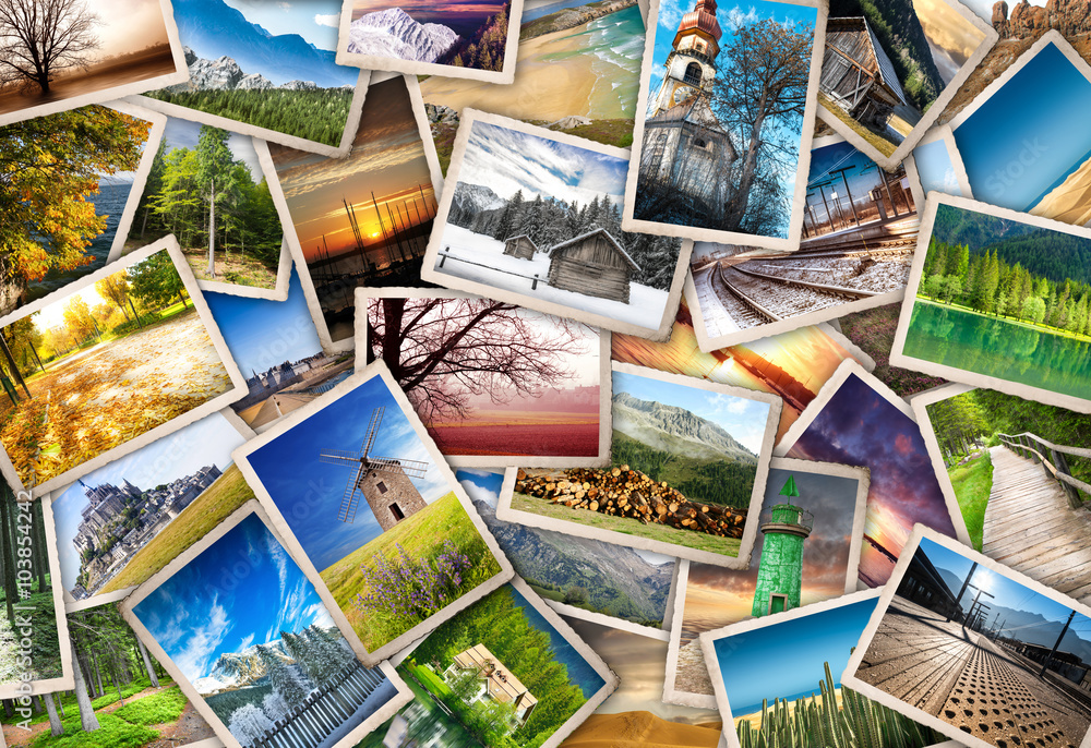 Fototapety, obrazy: raccolta di cartoline vintage