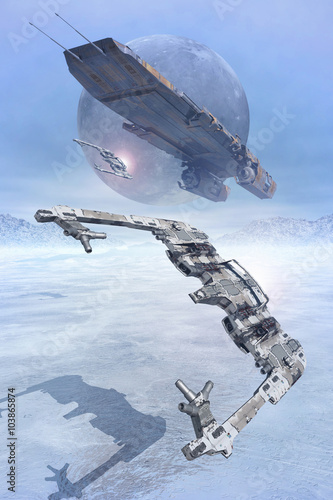 Fotomural Space fighters flying low on ice