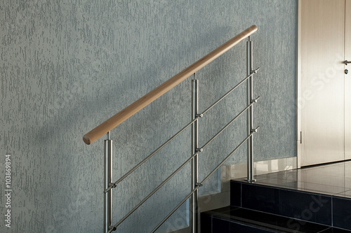 Wall Murals Stairs Metallic Railing On Staircase In Building