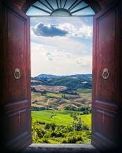 Open Door And Landscape