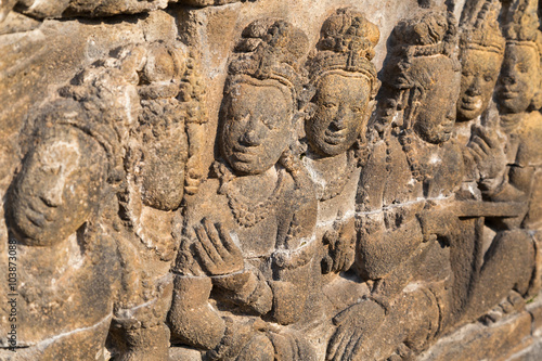 Bas-relief in Borobudur temple,  Indonesia Canvas Print