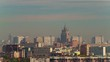 moscow sunny day sunset light city roof top panorama 4k time lapse russia