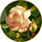 Pink rose in stained glass - vector illustration