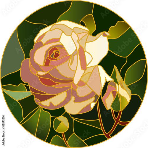 rozowa-roza-w-witrazu-ilustracji-wektorowych