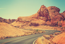 Vintage Toned Picture Of A Scenic Winding Road, USA