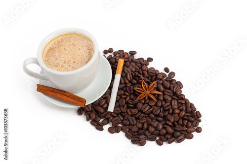 Canvas Prints Coffee beans A cup of coffee with cinnamon, sugar and star anise