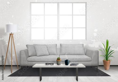 Foto op Aluminium Wand Isolated window in living room interior. Sofa, lamp, plant, glasses, book, coffee on table in living room interior.