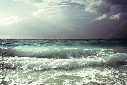 Autocollant pour porte Eau waves at Seychelles beach