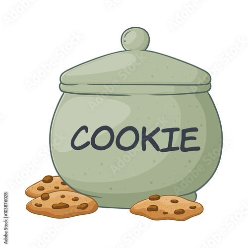 Canvas Print Vector Illustration of Cookie Jar
