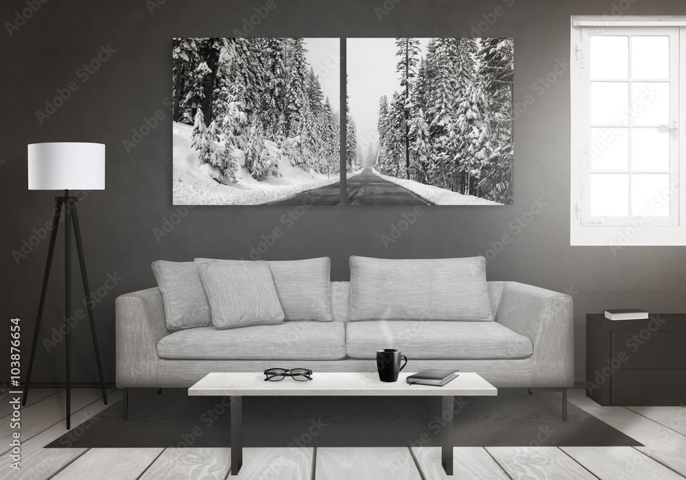 Fototapety, obrazy: Winter art canvas on wall. Window, sofa, lamp, plant, glasses, book, coffee on table in living room interior.