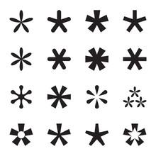 Asterisk (footnote, Star) Icons Set. Vector Illustration