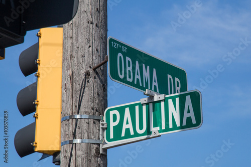 Intersection of Obama Drive and Paulina Street in Calumet Park,  Illinois Fototapet