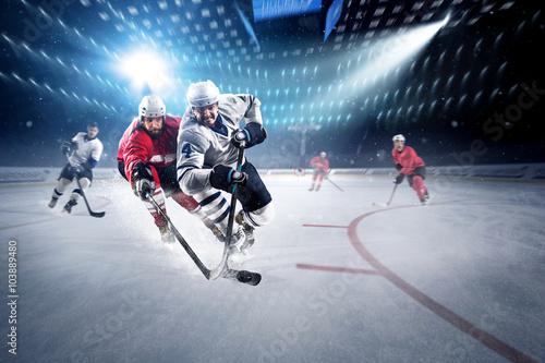 Fotografia, Obraz  Hockey players shoots the puck and attacks
