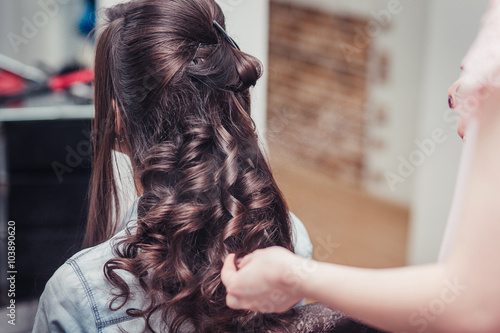 wrap curling hair in a beauty salon Poster