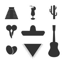 Vector Solid Mexican Flat Set,...
