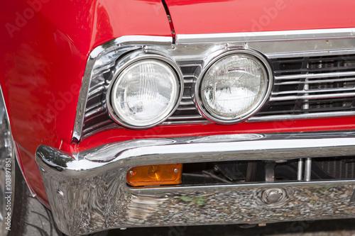 American vintage car, close-u