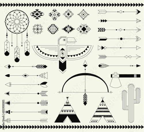 Fotografie, Obraz  Tribal native american indian element.