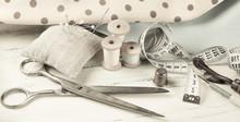 Set Of Reel Of Thread, Scissor...