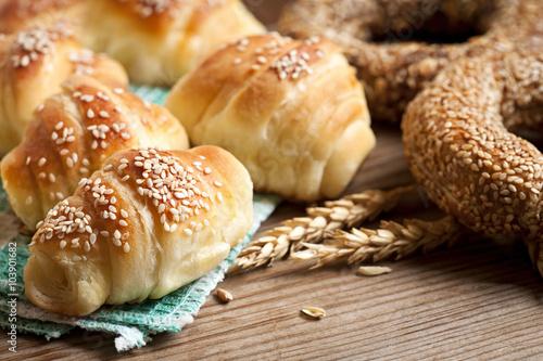 Fresh baked croissants Wallpaper Mural