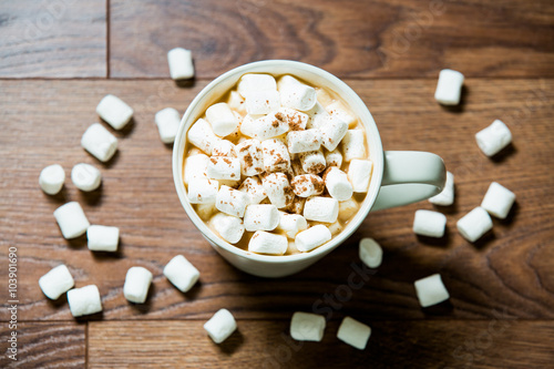 Foto op Plexiglas Chocolade White cup of hot chocolate with marshmallows and cinnamon on dark wooden background. Flat lay. Top view