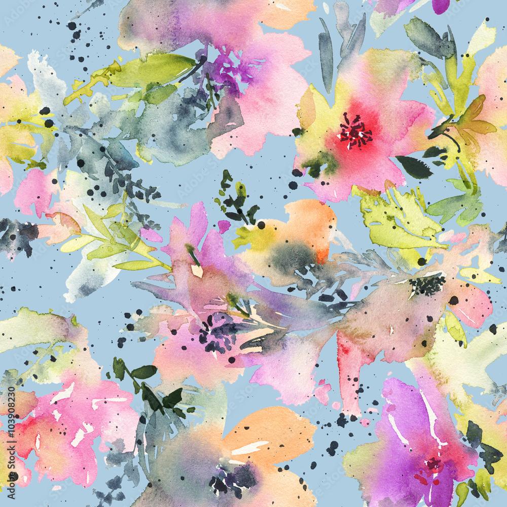 Streszczenie kwiaty akwarela. Bezszwowy wzór. Żywe kolory. Niezwykły kształt. <span>plik: #103908230 | autor: Karma</span>