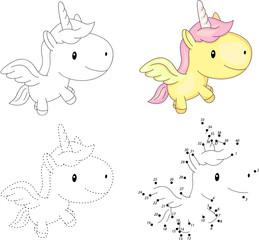 Cartoon unicorn. Dot to dot game for kids