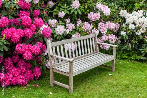 Plakat Kącik rododendronowy z drewnianą ławką.