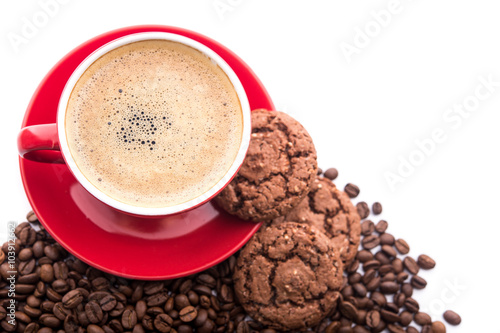 Canvas Prints Coffee beans Cup of coffee with cookies