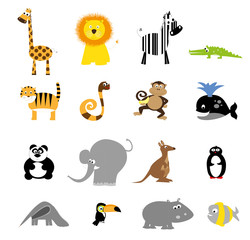 collection of cute wild cartoon animals / set of vector animals illustration for children