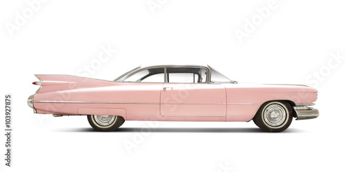 Poster Vintage voitures Cadillac Eldorado 1959 isolated on white. All Logos Removed.