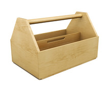 Portable Wooden Tool Box On A White Background. 3d Rendering