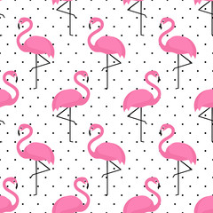 NaklejkaFlamingo seamless pattern on polka dots background. Flamingo vector background design for fabric and decor.