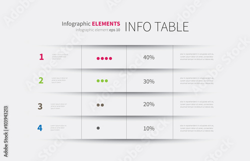 Fotografía  infographics table background / modern infographics template, options, steps, ro