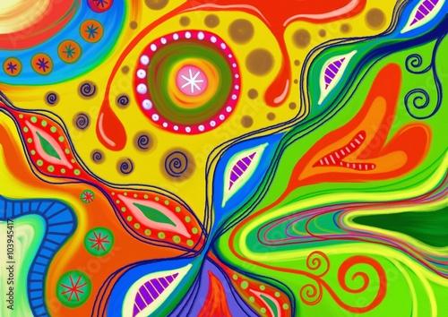 Fotografie, Obraz Ručně malované barevné abstraktní vzor složený z tvarů doodle.