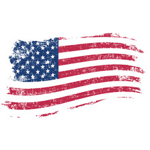 USA Flag In Grunge Style On A ...