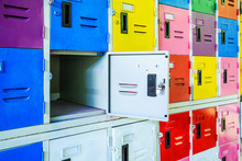 Rows Of Different Colors Metal Lockers, Select Focus.