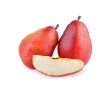 Red  Pears  Fruit On White Background