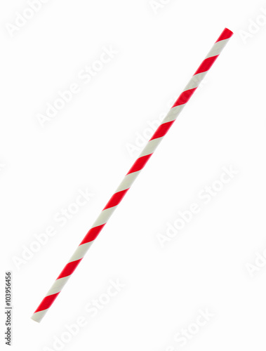 Red striped papaer straw isolated on white Fototapeta