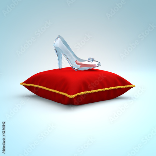 Stampa su Tela Cinderella glass slipper on the red pillow side view