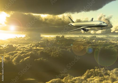 Fotobehang UFO Jet Aircraft flying between clouds