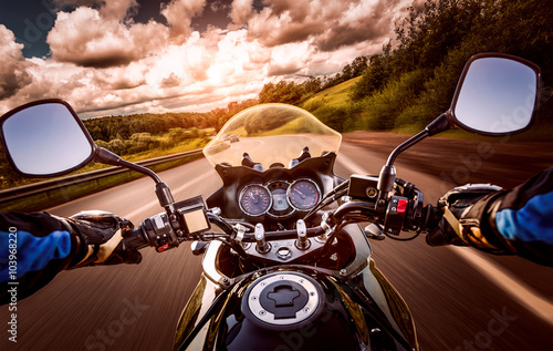 Fotografie, Obraz  Biker First-person view