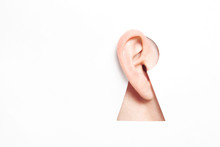 Ear In Keyhole. International Ear Care Day. World Deaf Day. International Week Of The Deaf
