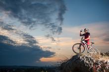 Cross Country Biker Drinking W...