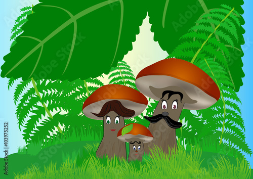 Photo Stands Magic world Mushroom family in the forest under the leaves, vector childish illustration