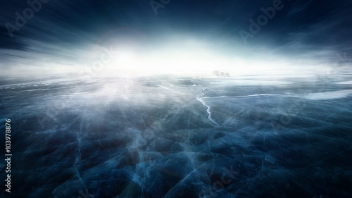 Recess Fitting Polar bear Frozen icy landscape with polar bears under the night sky