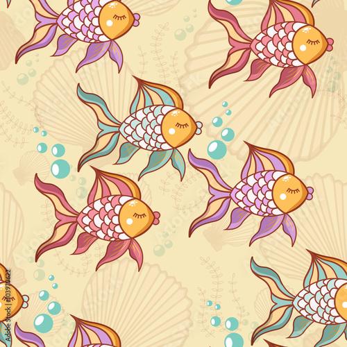 Poster Hibou Seamless pattern of beautiful fish