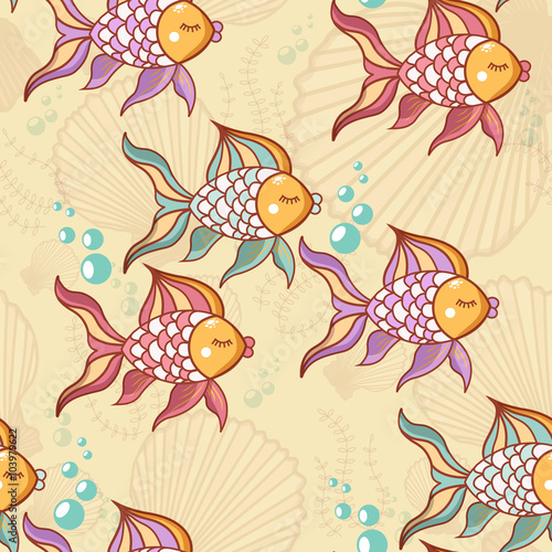 Autocollant pour porte Hibou Seamless pattern of beautiful fish