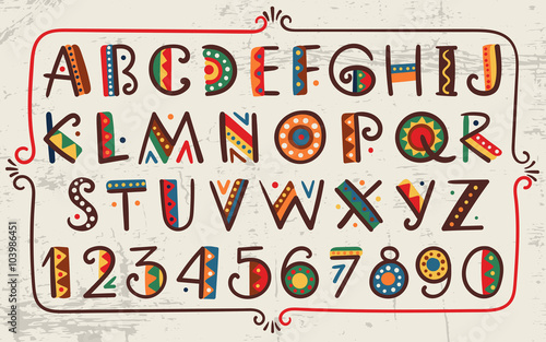 Papiers peints Style Boho Tribal ethnic bright vector alphabet and number