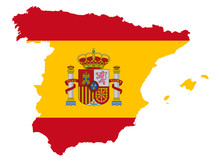 Spain Map With Flag Vector Ill...